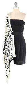 BCBGMAXAZRIA short dress Black & White Draped One Shoulder Mini on Tradesy