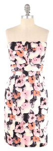 J.Crew short dress Pink Soft Cotton Watercolor Floral Strapless on Tradesy