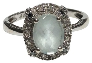 Designer Ring 14K WHITE SOLID GOLD 1.3CT AQUAMARINE & DIAMOND COCKTAIL RING