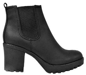 Chunky Bootie Cleated Ankle Black Boots
