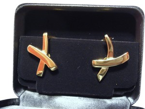 Tiffany & Co. TIFFANY & CO / Paloma Picasso Solid 18K 18Kt GOLD X Kiss Omega Back EARRINGS 11.8g