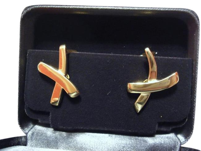 Tiffany & Co. Gold Co / Paloma Picasso Solid 18k 18kt X Kiss Omega Back 11.8g Earrings Tiffany & Co. Gold Co / Paloma Picasso Solid 18k 18kt X Kiss Omega Back 11.8g Earrings Image 1
