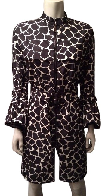 Item - Black White L Godard Giraffe Print Belted Trench Jacket 3 Coat Size 12 (L)