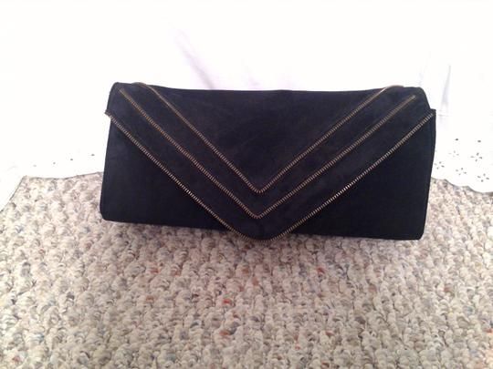 JJ Winters Black Suede Clutch