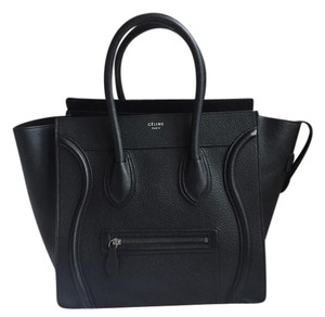 Céline Luggage Leather Tote in Black