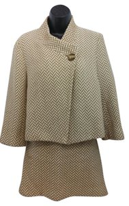 Michael Kors Michael by Michael Kors Beige and Brown Woven Cotton Skirt Suit 8