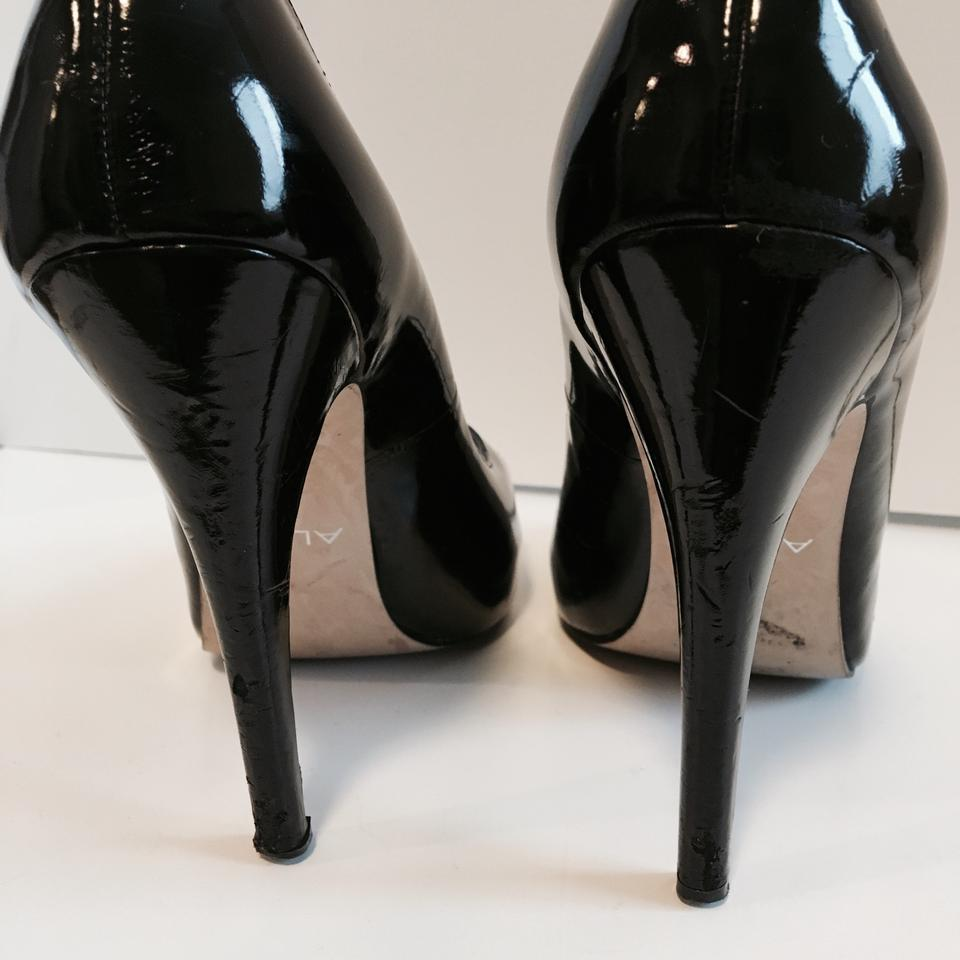 e8c3951a962 ALDO Black Scalloped Peep Toe Patent Leather Heels Pumps Size US 9 Regular  (M, B) 31% off retail