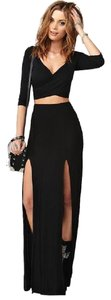 A.B.S. by Allen Schwartz Slits Maxi Satin High Waist Maxi Skirt Black