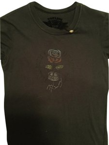Topless T Shirt Black with rose and pin