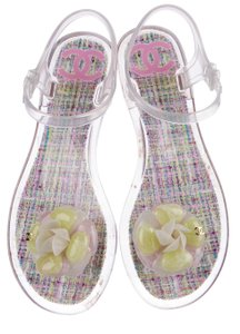 Chanel Jelly Camellia Glitter Gold Hardware Interlocking Cc Clear, Silver Sandals