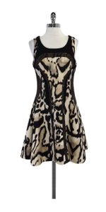 Diane von Furstenberg short dress Black Tan Animal Print on Tradesy