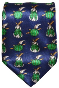 Lanvin Lanvin Paris Navy Blue Apples & Pears Fruit Pattern All Silk Designer Necktie Tie Made In France Authentic