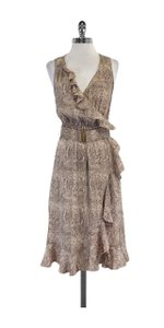 Rebecca Taylor short dress Tan Snake Print Ruffled Silk on Tradesy