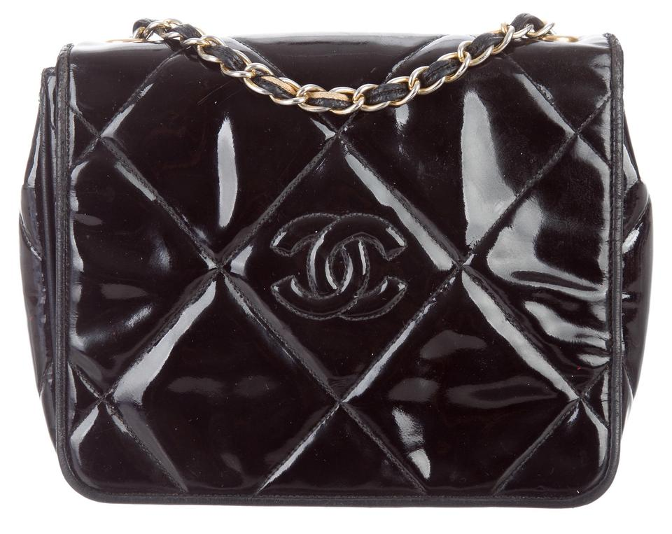3f0ff3697909 Chanel 2.55 Reissue Vintage Classic Mini Flap Quilted Cc Logo Small Cross  Body Black Patent Leather Shoulder Bag