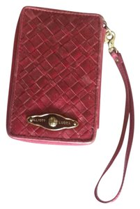 Elliott Lucca Leather Textured Gold Hardware Wristlet in Red