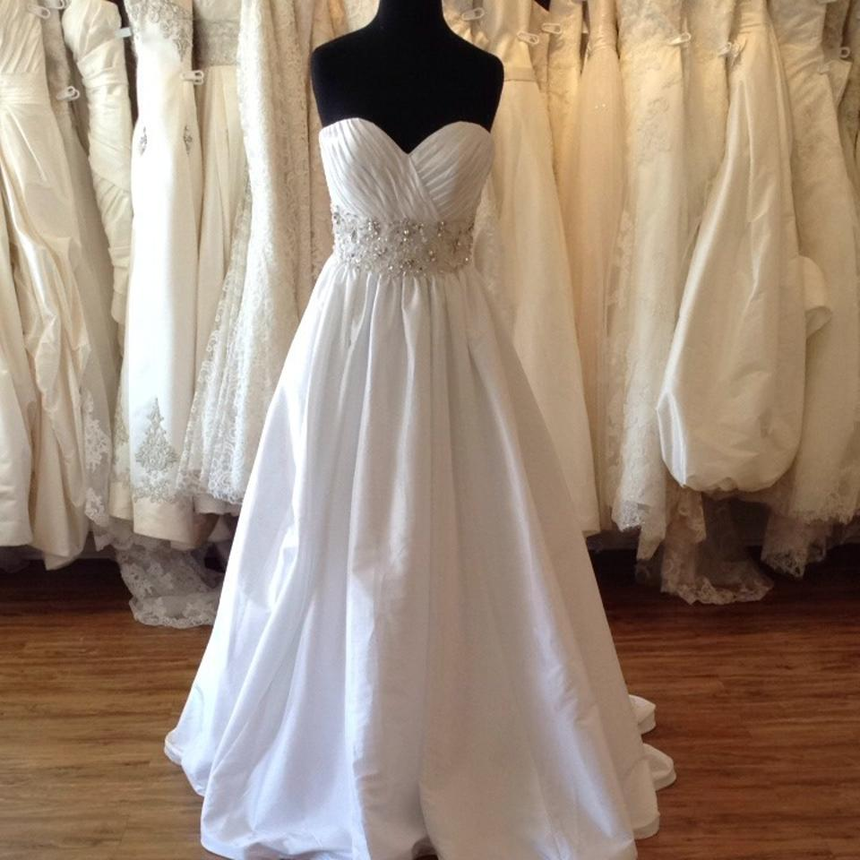 Mori lee white silver taffeta wedding dress size 4 s for Mori lee taffeta wedding dress