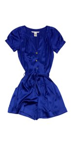 Diane von Furstenberg Blue Silk Short Sleeve Dress