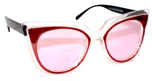 hausofgiovanni Retro Hippie Rose Tinted Clear Framed Sunnies