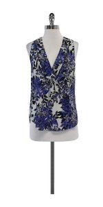 Rebecca Taylor Blue & Black Floral Silk Sleeveless Top