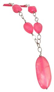 Barse stunning Sterling silver 925 large pink stone station necklace bares