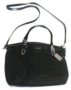 Coach Silver Hardware Pebbled Satchel in Navy Blue