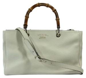 Gucci 323660 Bamboo Leather Crossbody Tote in Mystic White