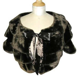 Furrocious Faux Fur Bolero Brown Satin Dark brown Jacket
