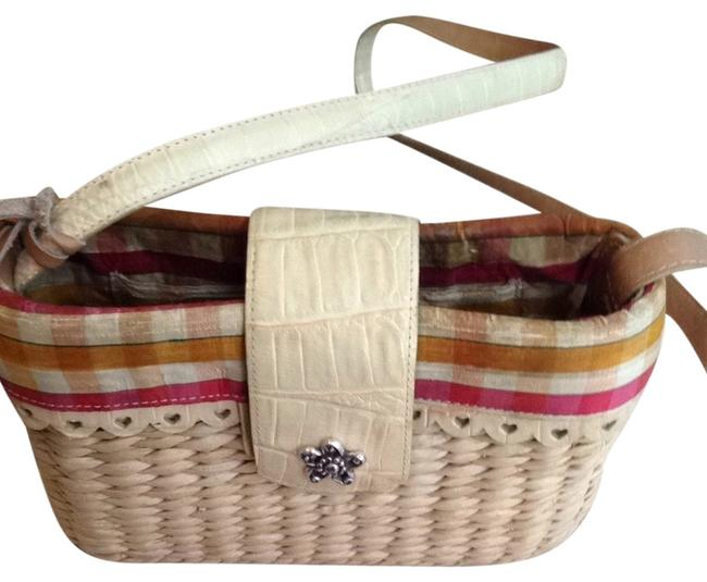 Item - Straw with Plaid Multi Color Red and Yellow Shoulder Bag