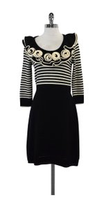 MILLY short dress Black & White Striped Rosette Wool Sweater on Tradesy