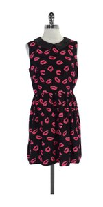 MILLY short dress Black Red Kiss Print Leather Collar on Tradesy