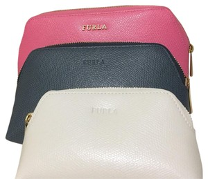 Furla pink white and grey blue Clutch