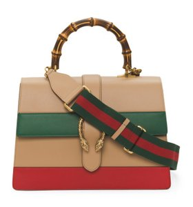 Gucci Dionysus Striped Bamboo Satchel in Brown/Red/Green