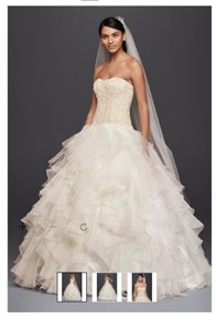 Oleg Cassini Oleg Cassini Strapless Ruffled Skirt Wedding Dress Style: Cwg568 Wedding Dress