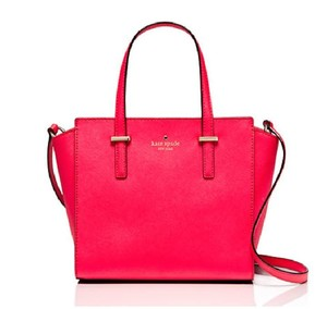 Kate Spade Cedar Street Small Hayden Red White Leather Satchel in WATERMELON