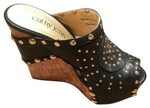 Cathy Jean Black with Gold Accents Platforms