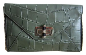 Diane von Furstenberg Red Snake Leather Dvf Agent Croc Olive Clutch