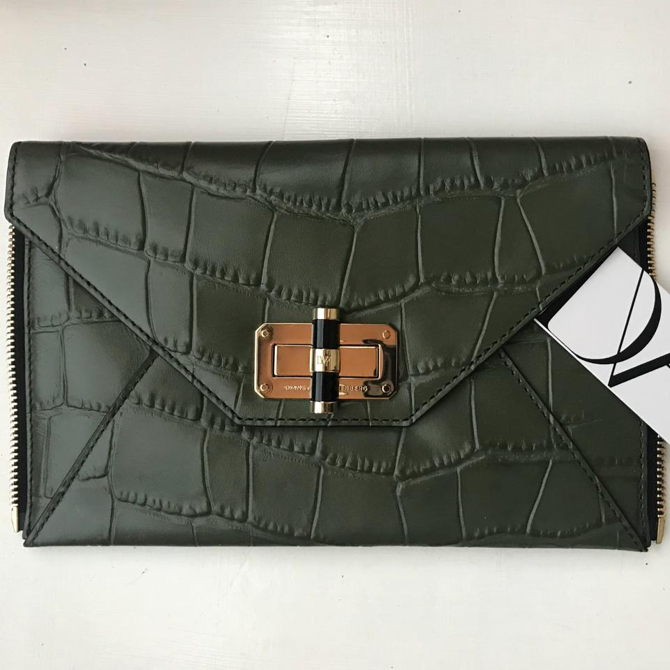 6b19c11057915 Diane von Furstenberg 440 Envelope / Dvf Secret Agent Green Leather Clutch  - Tradesy