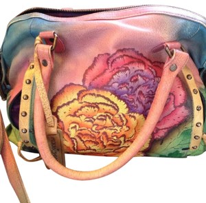 Anuschka Leather Satchel in Multi-color hand painted