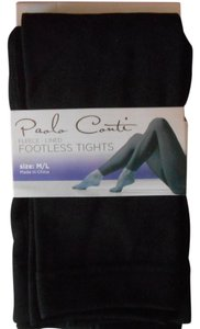 Paolo Conti Paolo Conti Black Fleece Lined Footless Tights M/L