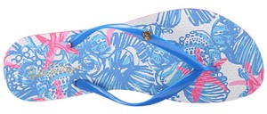 Lilly Pulitzer Bay Blue She She Shells Sandals