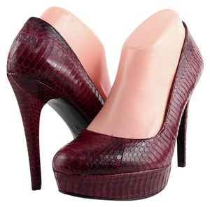 House of Harlow 1960 Nora Platform Raspberry Snake Pumps