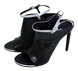 Balenciaga White Lbd Ankle Strap Black and Dove-Gray Leather Mules