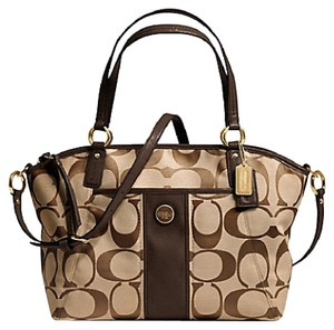 Coach Stripe Signature F21899 21899 Tote in Khaki/Mahogany