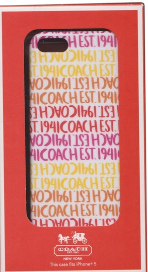 Coach Coach Berry Stripe Coral Yellow Pink Multicolor Hardshell Case Cover iPhone 5/5S
