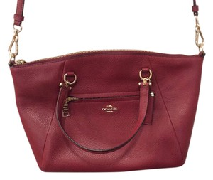 Coach Prairie Pebbled Leather Gold Red Cross Body Bag