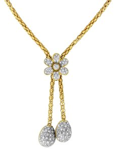 Other 1.35 Ct. Natural Superfine Diamond Flower Tear Drop Necklace in Solid