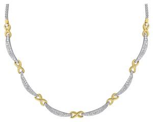 Other 1.75 Carat Natural Diamond Necklace In Solid 18k Two-Tone Gold