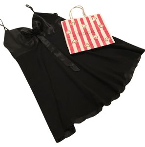 Victoria's Secret Black Sheer and Satin Nightgown with Gift Bag