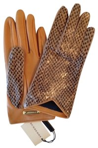 Burberry Burberry Dotted Snakeskin And Lamb Leather Cleo Gloves With Dust Bag