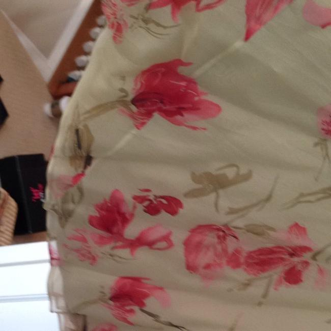 Dana Buchman Skirt Gold To E With Pink Red Flowers